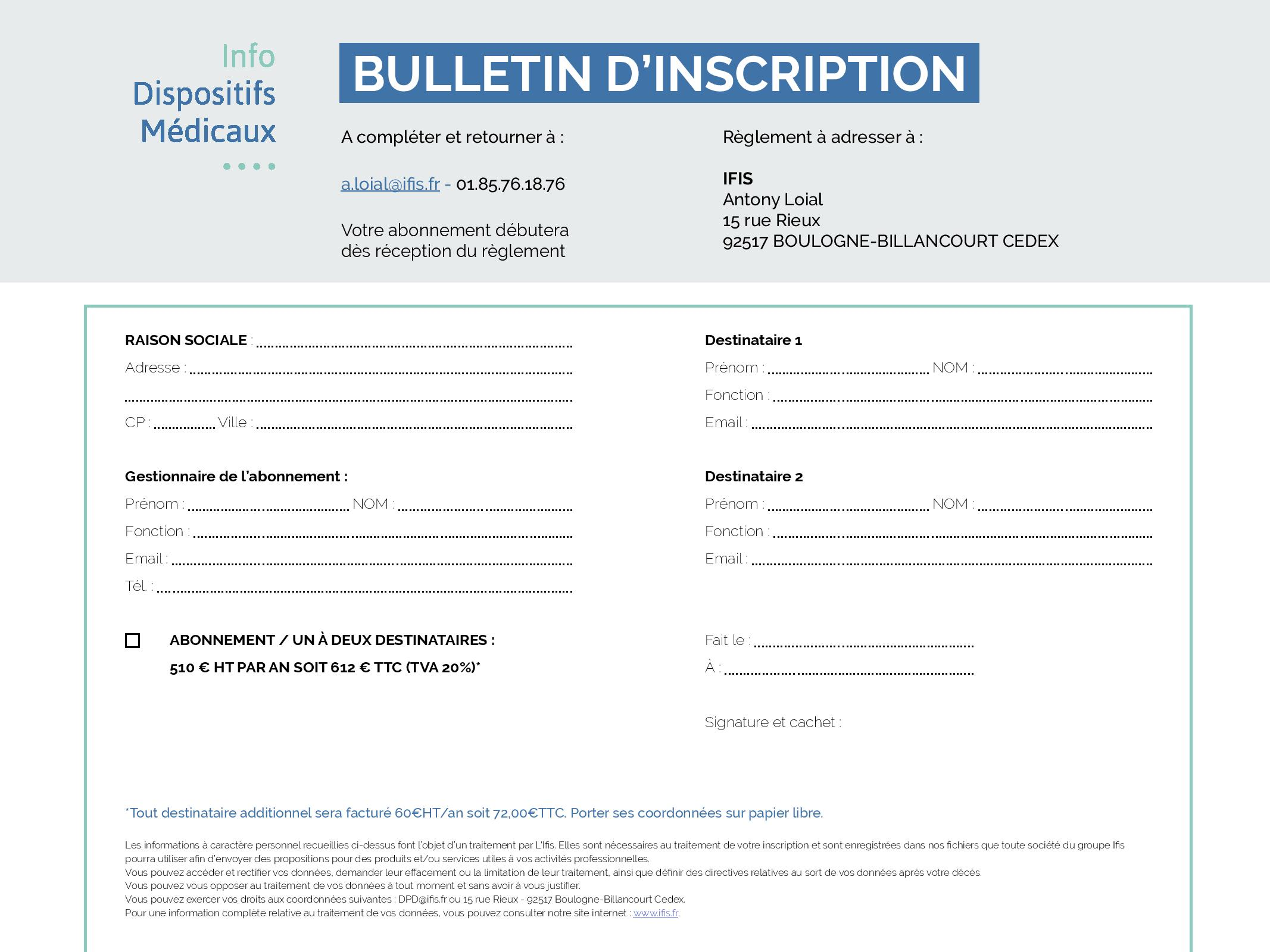 bulletin - inscription - info - dispositifs médicaux